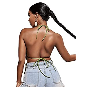 Material: 92% Viscose, 8% Elastane; Fabric has high stretch, comfy to wear Feature: Open Back, Open Front, Halter Neck, Tie Back, Sleeveless, Spaghetti Strap Occasion: Great for Party, Club, Dating, Beach, Vacation, Holiday, Weekend and Casual wear