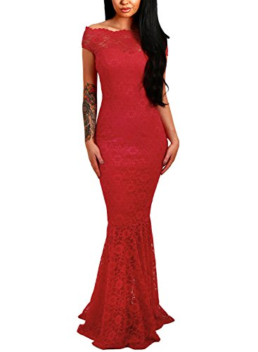 ff Shoulder Bardot Lace Cocktail Gown Fishtail Maxi Dress Red Large ()