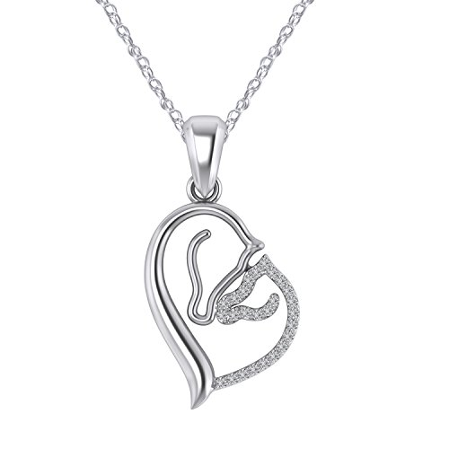 - Pretty Jewels Sterling Silver 925 Mom and Baby Horse Pendant with Real Diamond 0.08 Ct, 18