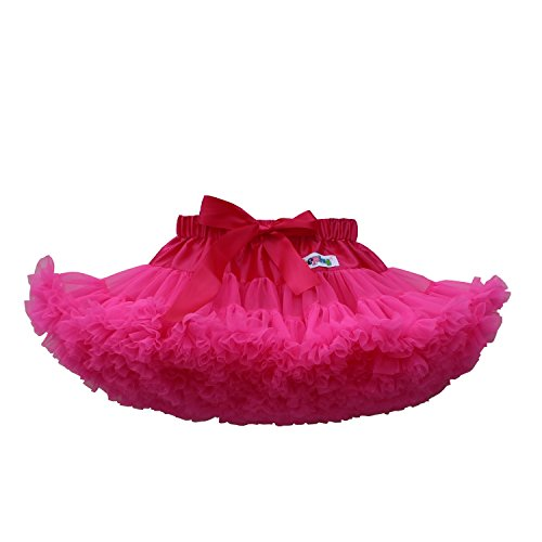 kephy Baby Extra Fluffy Princess Tutu Skirt Little Girl Pleated Tulle Skirt Birthday Dance Pettiskirt (0-10T) m Hot Pink ()