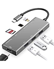 LHMZNIY USB C Hub, 7 in 1 Type C Adapter with 100W Power Delivery, 4K USB C to HDMI, SD/TF Card Reader, 3 USB 3.0 Ports for MacBook/Pro/Air, Chromebook and Other Type C Windows Laptops