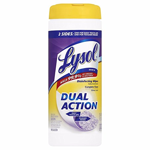 Lysol Dual Action Disinfecting Wipes w. Scrubbing Texture, 105ct (3X35ct) (Disinfectant Action Dual)