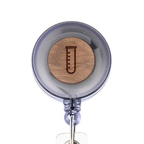 Science Beaker Tube Badge Holder with Retractable Reel and Clip, Laser Engraved Wood Design, Custom Badge Holder, Corporate Gifts