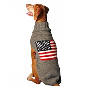 Chilly Dog American Flag Dog Sweater, Large