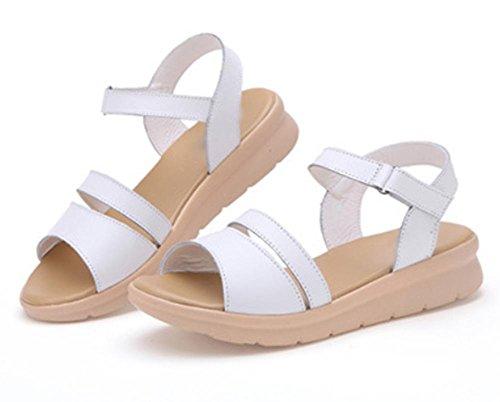 Waichuan Hang mit dicker Kruste Muffin Sandalen Frauen Schuhe Strand Wort weibliche Sandalen Sommerschuhe White