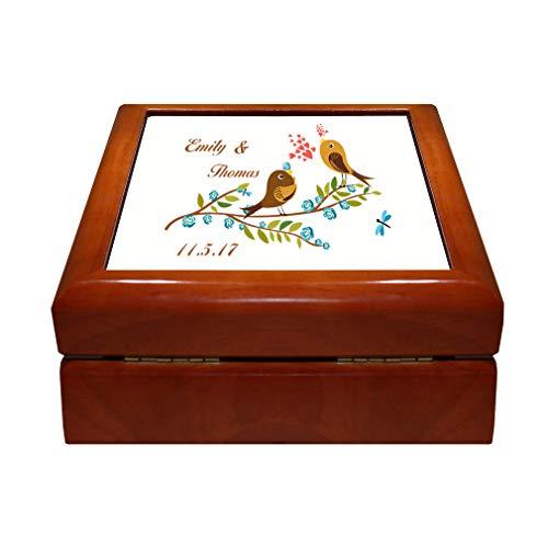 Style In Print Personalized Custom Text Wedding Birds Love Singing Couple Wood Organizer Jewelry Box 4