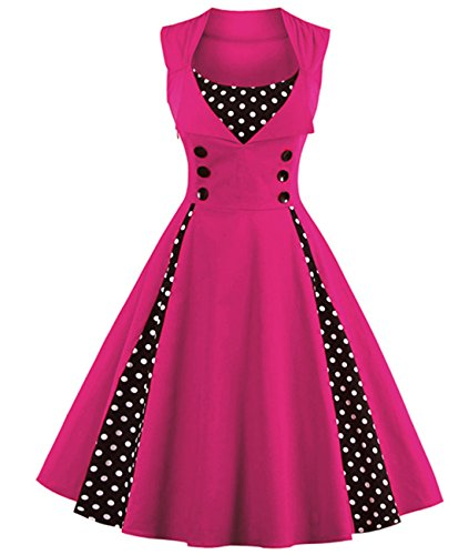 (VERNASSA Women's Vintage 1950s Rockabilly Polka Dots Audrey Dress Retro Cocktail Dress Hot Pink)