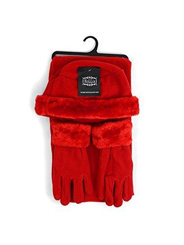 Three Piece Gloves - Women's Red Solid Polyester Fleece 3-Piece gloves scarf Hat Winter Set WSET60