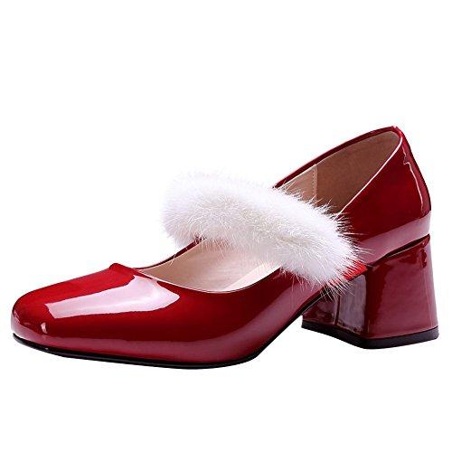 Carolbar Women's Chic New Style Block Mid Heel Mary Jane Court Shoes Red KKUVUqTQL