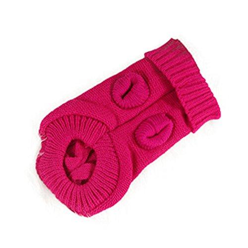 (Floralby Pet Sweater Dog Cat Knitted Winter Warm Woolen Yarn Puppy Cute Jumper Dog Shirt (Rose))