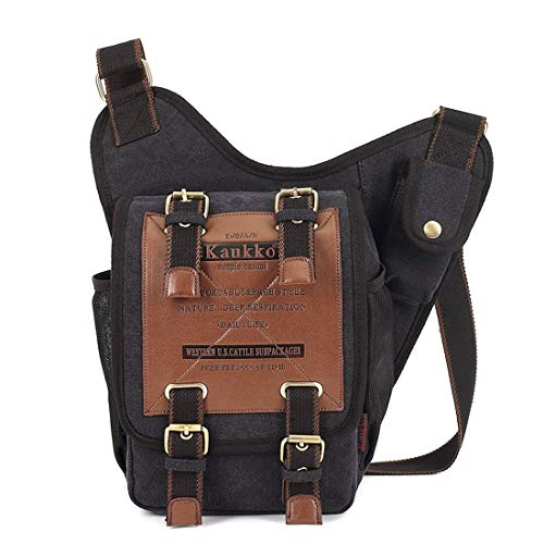 Mens Boys Vintage Canvas Shoulder Military Messenger Bag Sling School Bags Chest Military Leather Patchwork Messenger Bag- Great Christmas Birthday Gift for Families and Friends (Black02)
