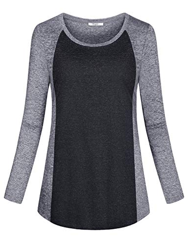 Cestyle Workout Tops for Women Long Sleeve,Ladies Activewear Wicking Shirt Gym Wear Patchwork Crew Neck Tees Loose Fit Outdoor Clothing Light Grey XX-Large For Sale