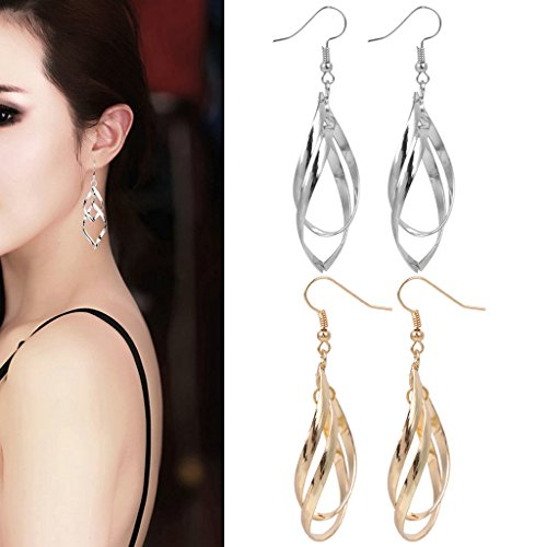 - BYNNIX Elongated Statement Earrings Double Linear Loops Design Dangle Eardrop Best Gift for Women Girls - 2 Pairs