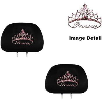 Pink Princess W Cute Crown Gem Crystal Studded Rhinestone Bling Car Truck SUV Seat Headrest