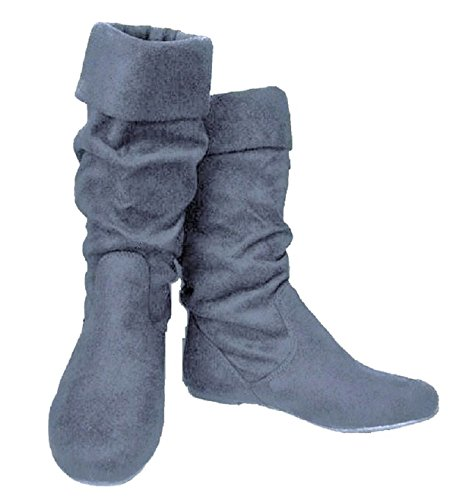 Joyln-9 Womens Slouchy Microsuede Pull Up Bottes Courtes Gris