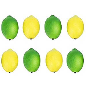 Buytra 8 Pack Artificial Fake Lemons Limes Fruit for Vase Filler Home Kitchen Party Decoration, Yellow and Green 1