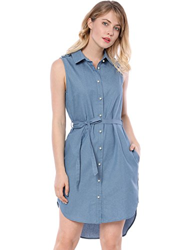 Sleeveless Belted Shirt Dress - Allegra K Women's High Low Hem Belted Pearl Button Down Chambray Shirt Dress XL Blue