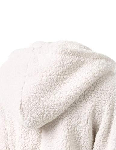 Femme Zippée Et m 3xl En Fourrure Peluche Doux Sweat Unie Capuche D'hiver Sherpa Veste Aimado Blanc À Couleur Chaud Manteau FqgXA0O0