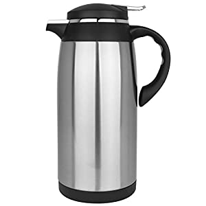 2 Liter Stainless Steel Silver & Black Vacuum Jug / Hot Water Thermal Carafe / Coffee Tea Insulated Pot