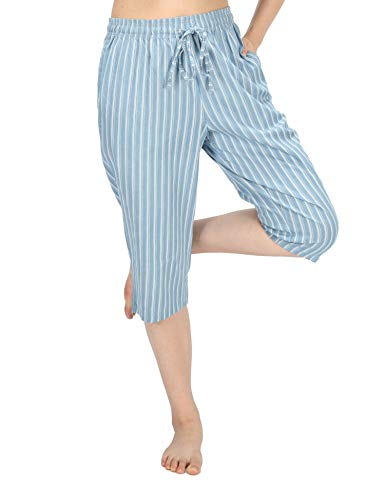WEWINK CUKOO Soft Denim Cotton Women Pajama Capri Lounge Pants with Pockets (Stripes A, M=US 8-10)