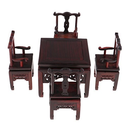 1 6 Scale Figures - DYNWAVE 5pcs Dollhouse Furniture Miniatures - 1:6 Scale Rosewood Table and Chairs Set, Great for Hot Toys Action Figures, for 1/6 BJD Dolls