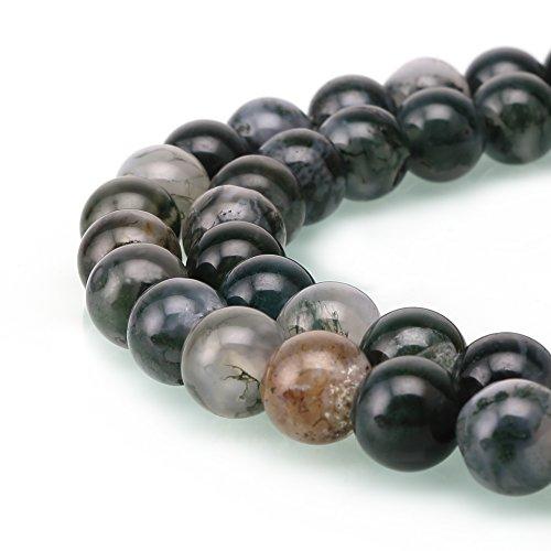 Moss Agate Stone Bead Bracelet - 4