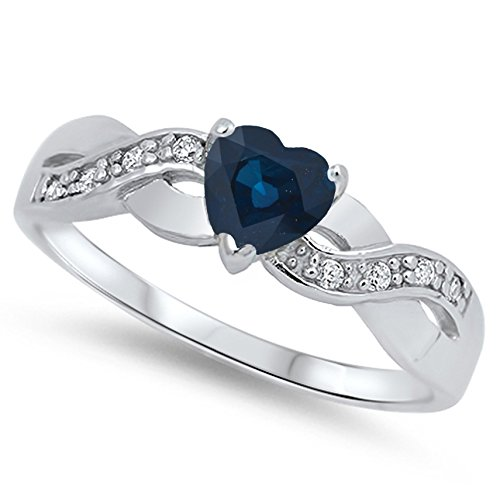 925 Sterling Silver Faceted Natural Genuine Blue Sapphire Infinity Knot Heart Promise Ring Size 7 ()