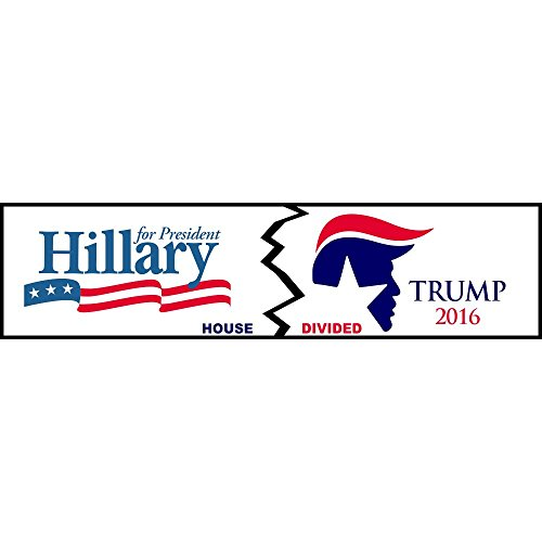 House Divided Hillary/Trump Logo Funny Decal Sticker | Political Bumper ()