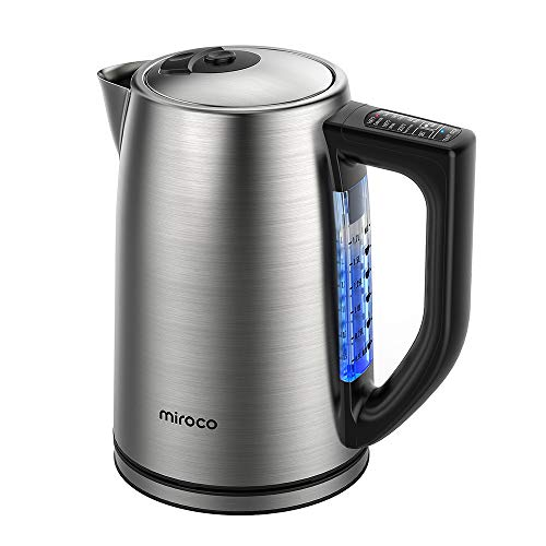 Miroco Electric Kettle Temperature Control Stainless Steel 1.7 L Tea Kettle, BPA-Free Hot Water Boiler Cordless with LED Light, Auto Shut-Off, Boil-Dry Protection, Keep Warm, 1500W Fast Boiling, 120V