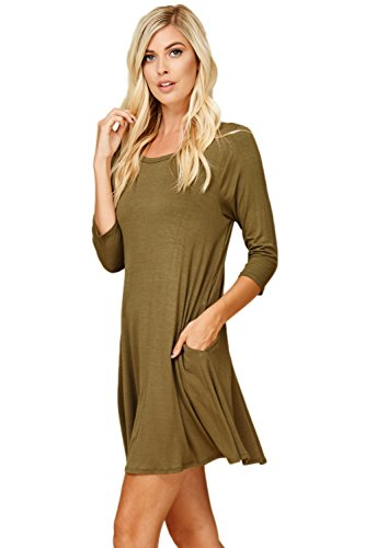 4 3 Olive Swing Annabelle Women's Neck Scoop with Sleeve Comfy Dress Pockets IwIqSOxX