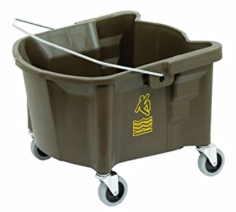 """Continental 226-3BZ, Bronze Splash Guard Mop Bucket with 3"""" Grey Non-Marking Casters and International Caution Symbol, 26 quart Capacity (Case of 1)"""