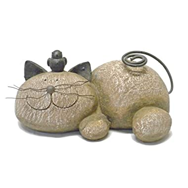 Fun Express Resting Cat Stone Whimsical Garden Accent - Lightweight Resin