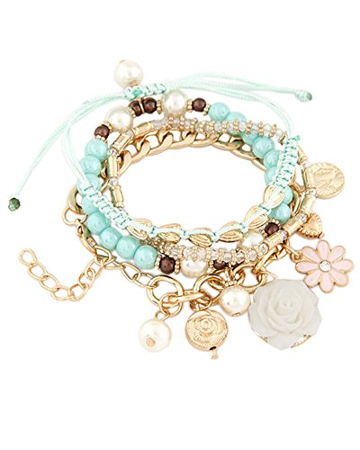 Young & Forever Women's Navratri Diwali Special Elegant Beads Multilate Bracelet (Set Of 4) Gold Toned by Young & Forever