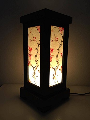 Thai Vintage Handmade Luxury Asian Oriental Japanese Sakura Flower Bedside Table Light or Floor Wood Paper Lamp Shades Home Bedroom Garden Decor Modern Design from Thailand by, Thai decorated Shop'