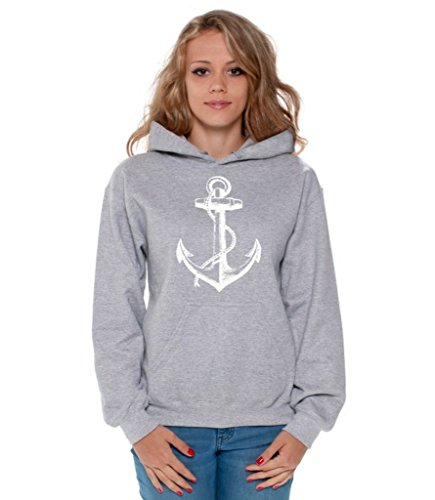 Awkwardstyles Women's Anchor White Hoodie Marine Hooded Sweatshirt + Bookmark M Gray ()