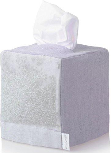 elizabeth W Purple Linen Square Tissue Box Cover