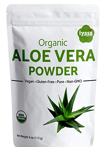Organic Aloe Vera Leaf Powder, Trial Pack of 4 Oz/112 Gm, Aloe Barbadensis - USDA Organic Herbal Cosmetics, Natural Hair & Skincare, Moisturizer, Ayurvedic Superfood ,Resealable Pouch of 4 oz