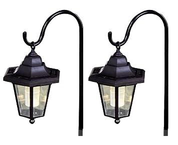 2 Pack Of Solar Powered Shepherd Hanging Garden Lantern