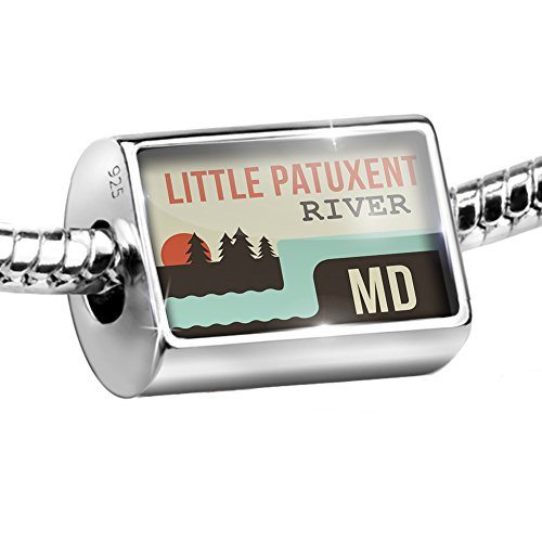 Sterling Silver Bead USA Rivers Little Patuxent River - Maryland Charm Fits All European - Patuxent Little