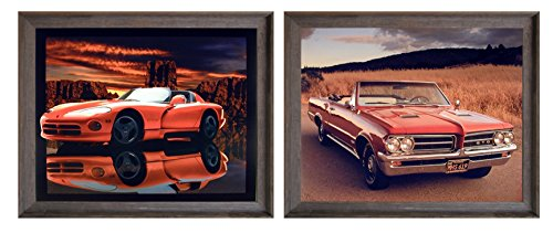 1964 Pontiac GTO and Red Hot Dodge Viper Classic Vintage Sports Car Two Set 8x10 Barnwood Framed Wall Decor Art Print Posters Picture ()