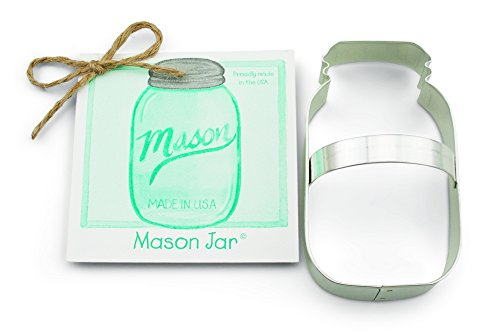 Mason Jar Cookie Cutter With Recipe Card & Decorating Tips - Ann Clark 4.5 Inches - US Tin Plated Steel
