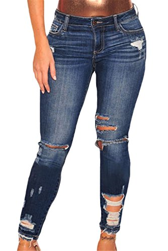 Just for Plus Women's Sexy Denim Ripped Destroyed Skinny Jeans Long Length Plus Size Slim Fit M-XXL