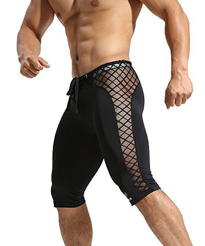 Men's Mesh Soft Thin Quick Dry Jammer Swimsuit Black,XL (Fish Thin)