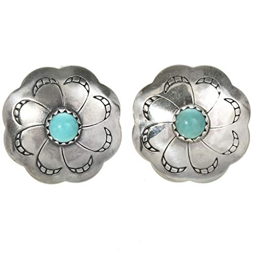 Navajo Turquoise Ring - Navajo Silver Concho Turquoise Earrings Southwest Post Studs 3786