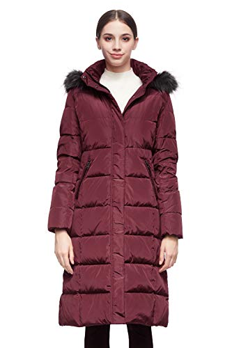 Orolay Women's Puffer Down Coat with Faux Fur Hood WineRed S
