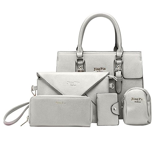 5 Piece Leather Luggage Set - H&X Women 5 PCS Set Handbags PU Leather Crossbodybag Purse Set (grey)