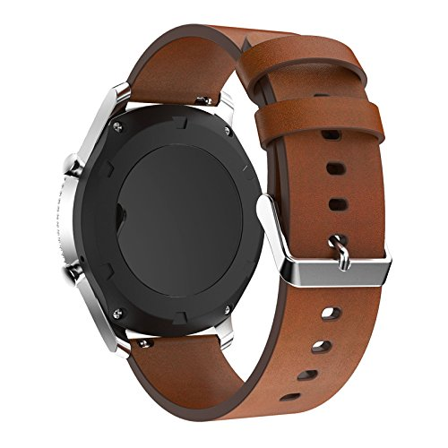 22mm Quick Release Watch Bands Pinhen Silicone Leather Milanese Stainless Steel Replacement Strap for Samsung Gear S3,Pebble Time,MOTO 360,LG G Watch,ASUS Zenwatch,Ticwatch (Leather Brown) (Watch Bands Leather 22mm)