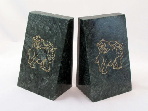 Marble Stock Market Bookends - Fighting Bull & Bear Solid Marble Bookends - Stock Market