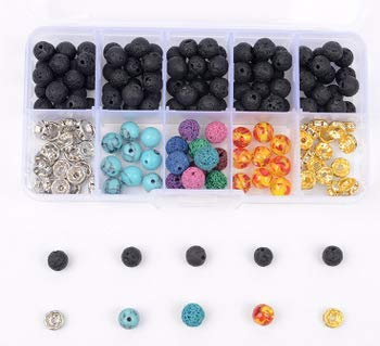 Lava Bead Kit, 170 Pcs Black Colored Lava Rock Stone Bead Diffuser Balls Kit Set with Chakra Beads and Spacer Beads for Essential Oils Jewelry Making