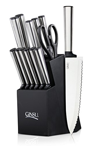 Ginsu-Koden-Series-14-Piece-Stainless-Steel-Serrated-Knife-Set-Cutlery-Set-with-Stainless-Steel-Kitchen-Knives-in-a-Black-Block-05253DS